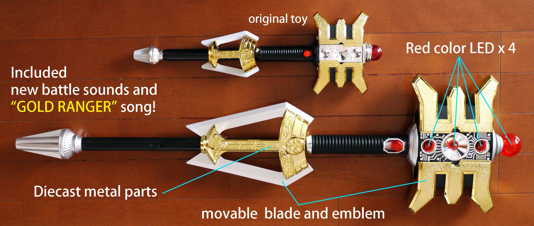 New in Box Power Rangers Zeo Legacy Gold Ranger Staff Prop Bandai